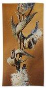 Song Sparrow And Milkweed Beach Towel