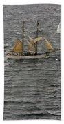 Soren Larsen Tall Ship Enters Sydney Harbour Beach Towel