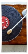 Record Player Cake Beach Towel