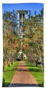 Sounds Of Victory The Bell Tower Furman University Greenville South Carolina Art Beach Towel