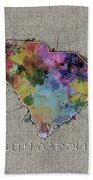 South Carolina Map Color Splatter 5 Beach Towel