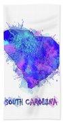 South Carolina Map Watercolor 2 Beach Towel