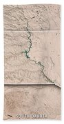 South Dakota State Usa 3d Render Topographic Map Neutral Border Beach Towel
