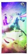 Space Cat Riding Unicorn - Laser, Tacos And Rainbow Beach Towel