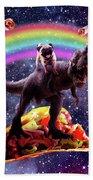 Space Pug Riding Dinosaur Unicorn - Taco And Burrito Beach Towel