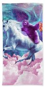 Space Sloth On Unicorn - Sloth Pizza Beach Towel