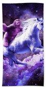 Space Sloth Riding On Unicorn Beach Towel