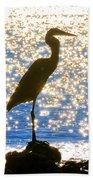 Sparkling Egret Beach Towel