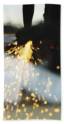 Sparks From Cutting Metal Beach Towel