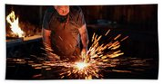Sparks When Blacksmith Hit Hot Iron Beach Towel