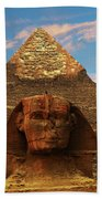 Sphinx And Pyramid Of Khafre Beach Towel