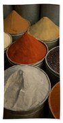Spices For Sale In Souk, Fes, Morocco Beach Towel
