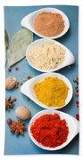 Spices On Blue   Beach Towel