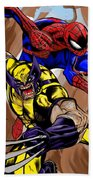 Spider And The Wolverine Beach Towel