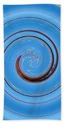 Have A Closer Look. Spiral Art With Light And Dark Blue Embossing Effect.  Beach Sheet