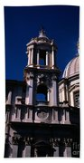 Spire And Cupola St Agnese In Agone Piazza Navona Rome Italy Beach Towel