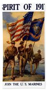 Spirit Of 1917 - Join The Us Marines  Beach Towel by War Is Hell Store