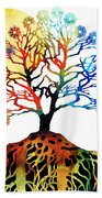 Spiritual Art - Tree Of Life Beach Towel by Sharon Cummings