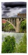 Spokane Falls And Monroe Bridge Beach Towel
