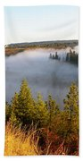 Spokane River Under A Misty Morning Blanket Beach Towel