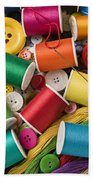 Spools Of Thread With Buttons Beach Towel