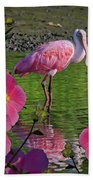 Spoonbill Through The Flowers Beach Towel