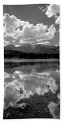 310204-bw-sprague Lake Reflect Bw  Beach Towel