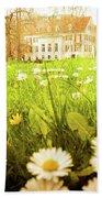 Spring. A Medow Spread With Daisies In Baden-baden, Germany Beach Towel