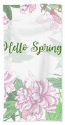Spring  Background  With Pink Peonies And Flowers.  Beach Towel