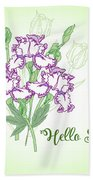 Spring Bouquet  With Three Irises.  Beach Towel