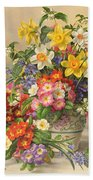 Spring Flowers And Poole Pottery Beach Towel by Albert Williams