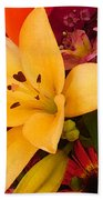 Spring Lily Bouquet Beach Towel