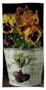 Spring Pansy Flowers In A Pail Beach Towel