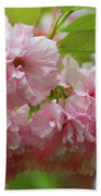 Spring Pink, Green And White Beach Towel