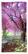 Spring Rhapsody, Happiness And Cherry Blossom Trees Beach Sheet