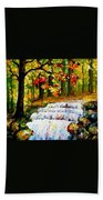 Spring Stream - Palette Knife Oil Painting On Canvas By Leonid Afremov Beach Towel