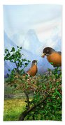 Spring Time Robins Beach Towel