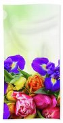 Spring Tulips And Irises Beach Towel
