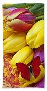 Spring Tulips Beach Towel