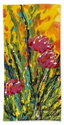 Spring Tulips Triptych Panel 2 Beach Towel