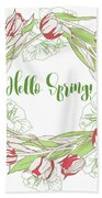 Spring  Wreath With Pink White Tulips Beach Towel