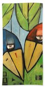 Springtime Lovebirds Beach Towel