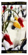 Springtime Tulips In The Snow Poster Print Beach Towel