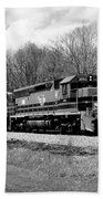 Sprintime Train In Black And White Beach Towel by Rick Morgan