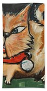 Square Cat Two Beach Towel