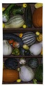 Squash And Gourds In Compartments Beach Towel
