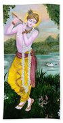 The Divine Flute Player, Sri Krishna Beach Towel