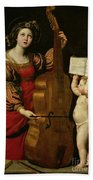 St. Cecilia With An Angel Holding A Musical Score Beach Towel by Domenichino