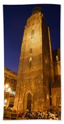 St. Elizabeth's Church Tower At Night In Wroclaw Beach Towel