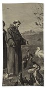 St Francis Preaches To The Birds  Beach Towel